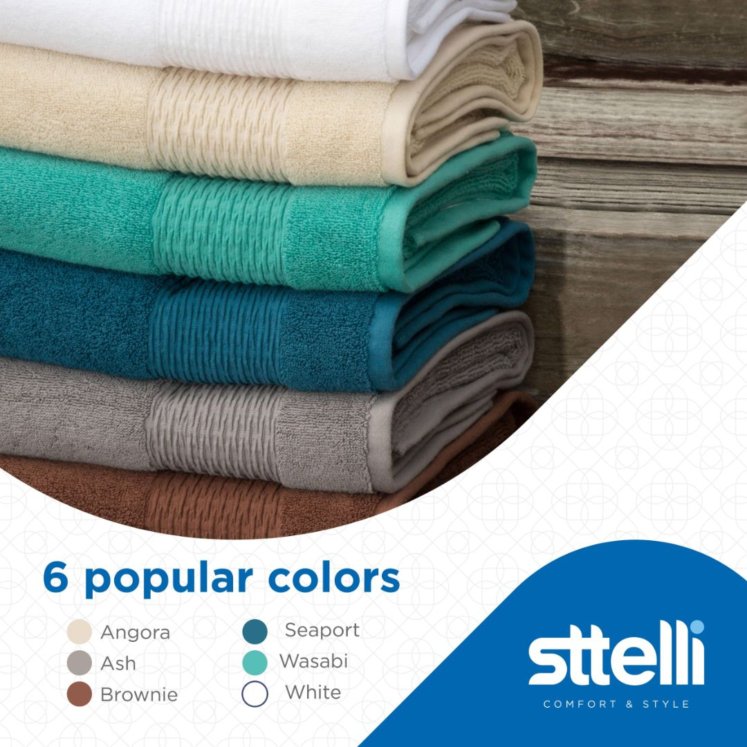 Sttelli Luna 6-Piece Bath Towel Set - Durable, Soft and Absorbent, Includes 2 Bath Towels, 2 Hand Towels, and 2 Wash Towels - White