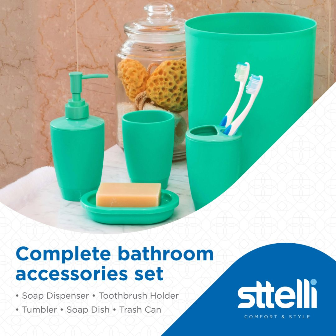 Sttelli Kaleidoscope Bath Accessories Set - Soap Dispenser, Toothbrush Holder, Tumbler, Soap Dish and Trash Can - Bermuda