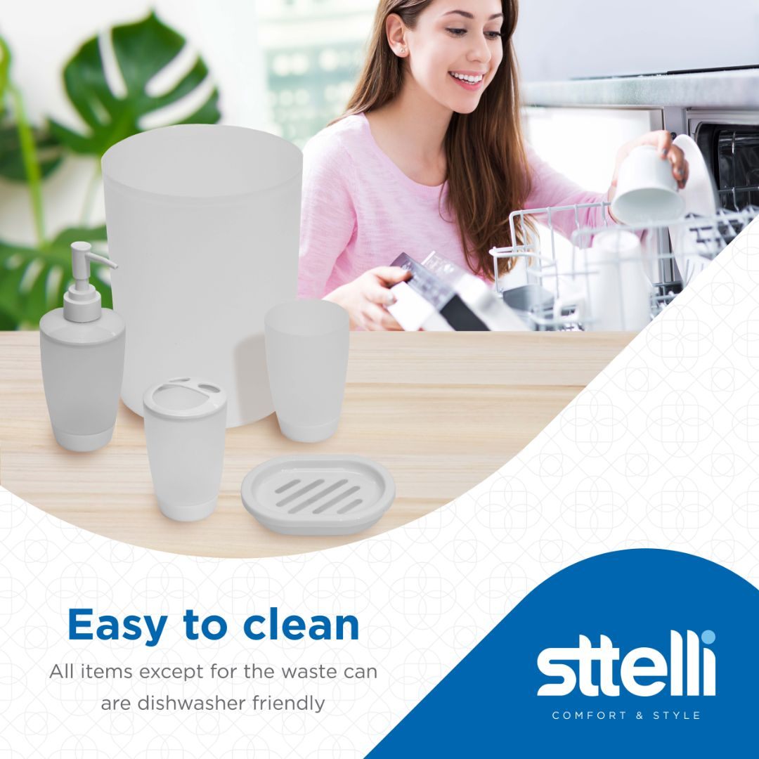 Sttelli Kaleidoscope Bath Accessories Set - Soap Dispenser, Toothbrush Holder, Tumbler, Soap Dish and Trash Can - Clear