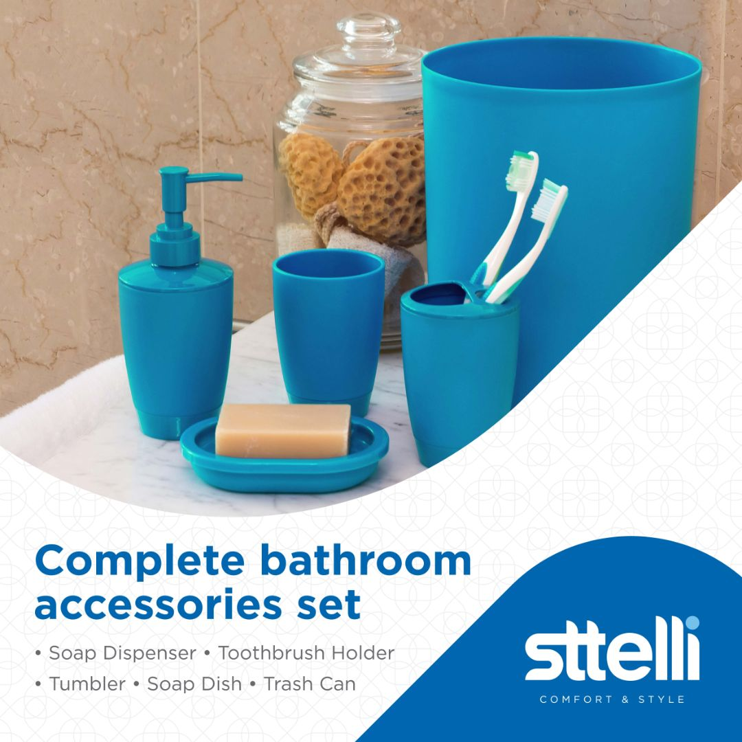 Sttelli Kaleidoscope Bath Accessories Set - Soap Dispenser, Toothbrush Holder, Tumbler, Soap Dish and Trash Can - Jewel
