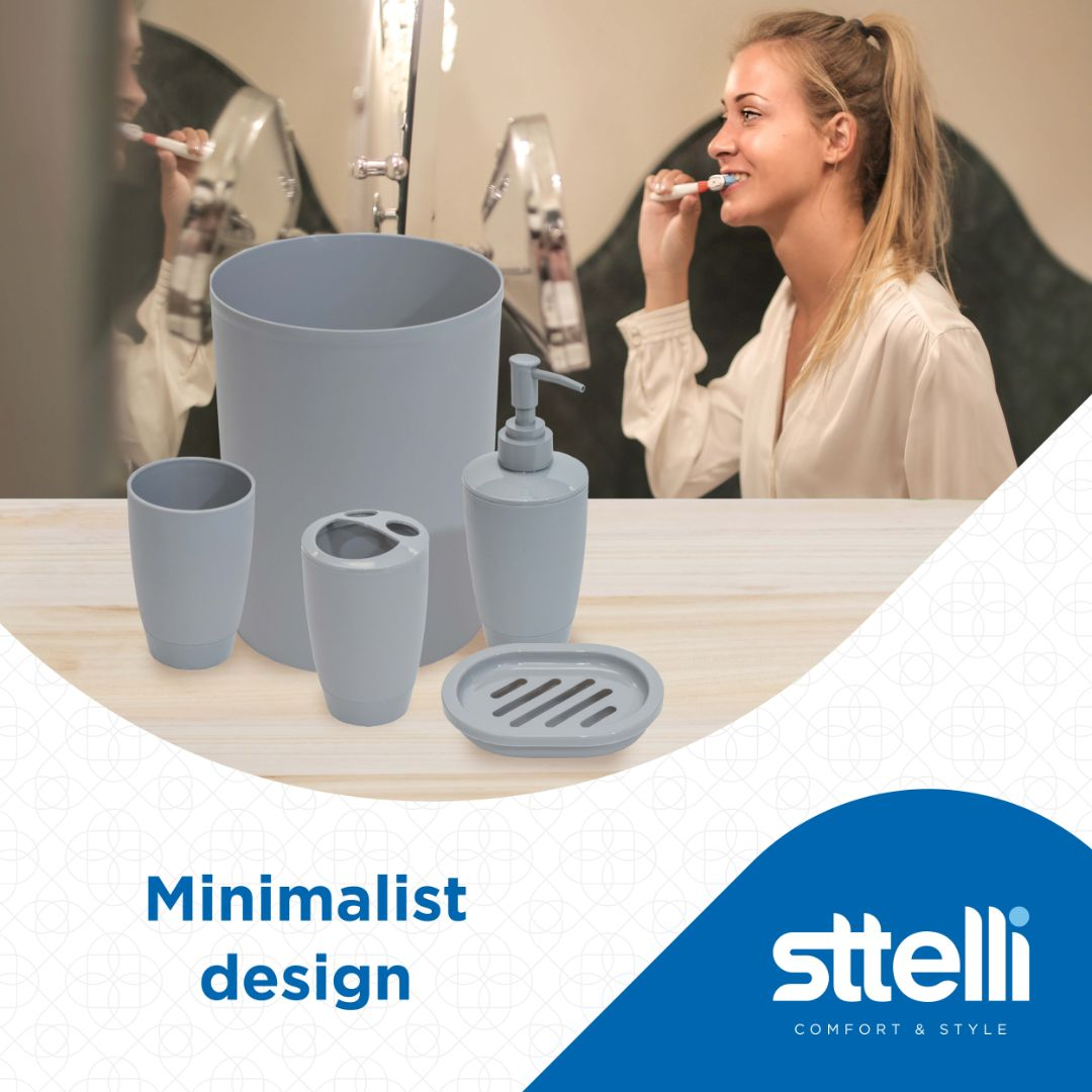 Sttelli Kaleidoscope Bath Accessories Set - Soap Dispenser, Toothbrush Holder, Tumbler, Soap Dish and Trash Can - Limestone
