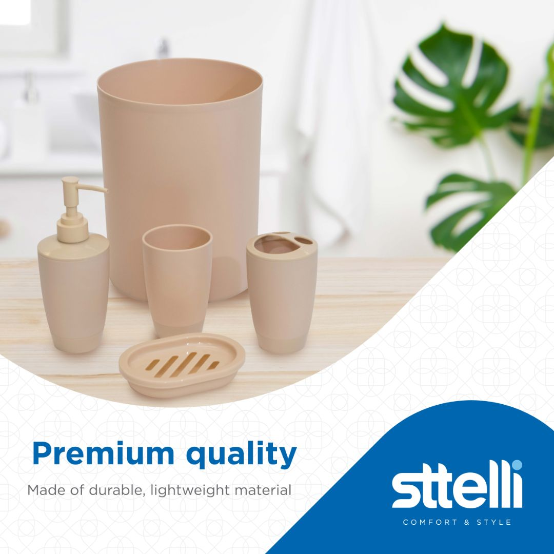 Sttelli Kaleidoscope Bath Accessories Set - Soap Dispenser, Toothbrush Holder, Tumbler, Soap Dish and Trash Can - Mushroom