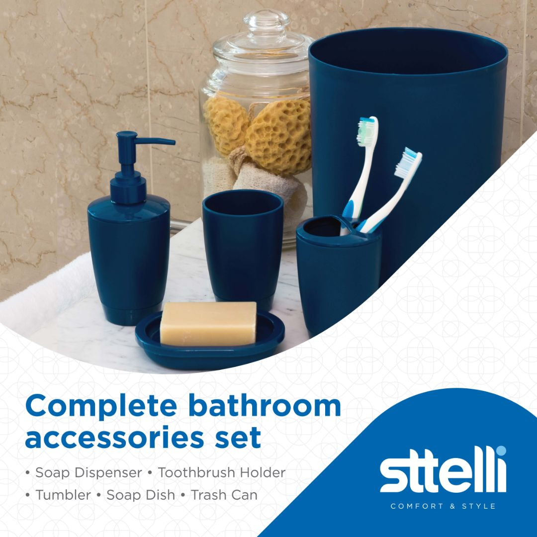 Sttelli Kaleidoscope Bath Accessories Set - Soap Dispenser, Toothbrush Holder, Tumbler, Soap Dish and Trash Can - Navy