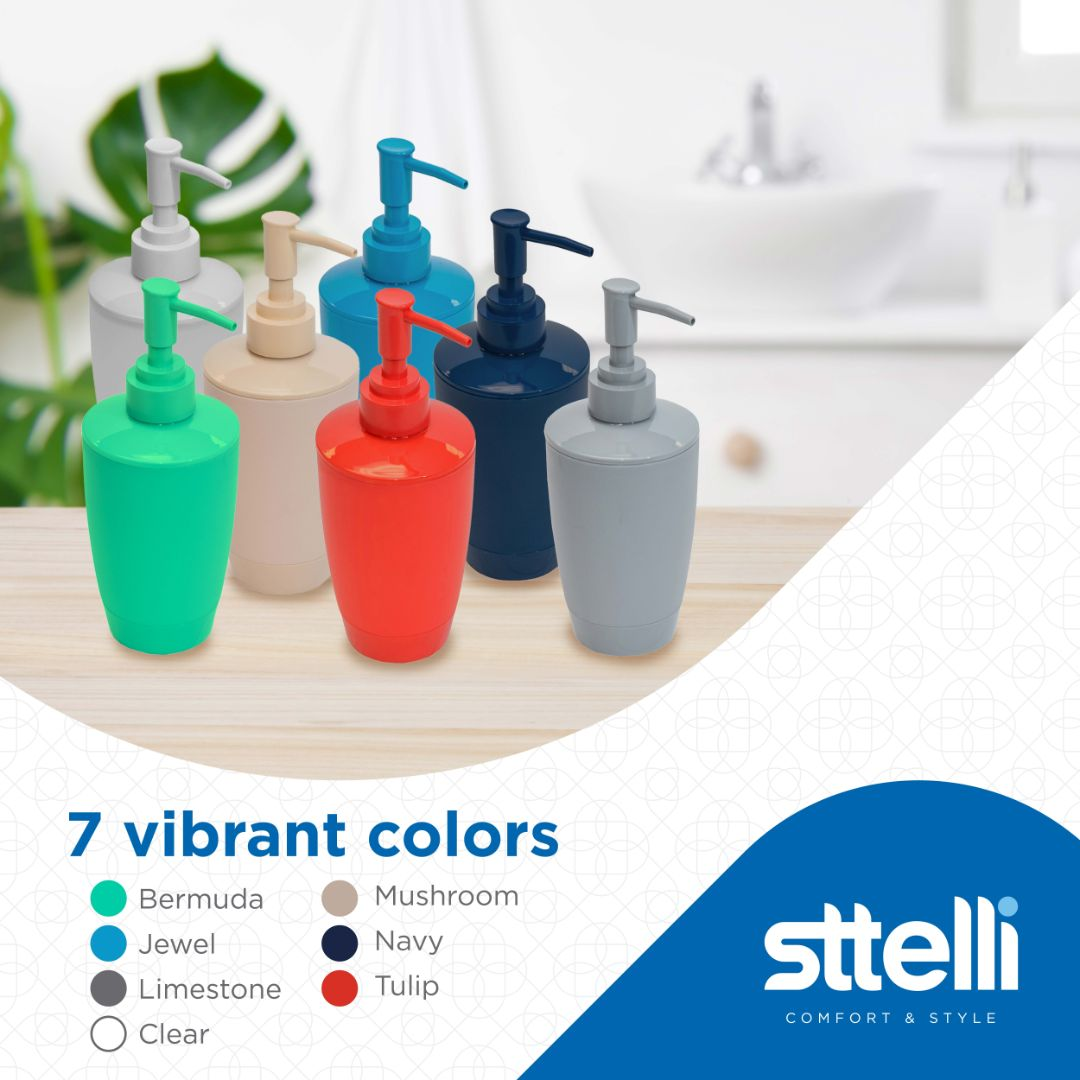 Sttelli Kaleidoscope Bath Accessories Set - Soap Dispenser, Toothbrush Holder, Tumbler, Soap Dish and Trash Can - Tulip