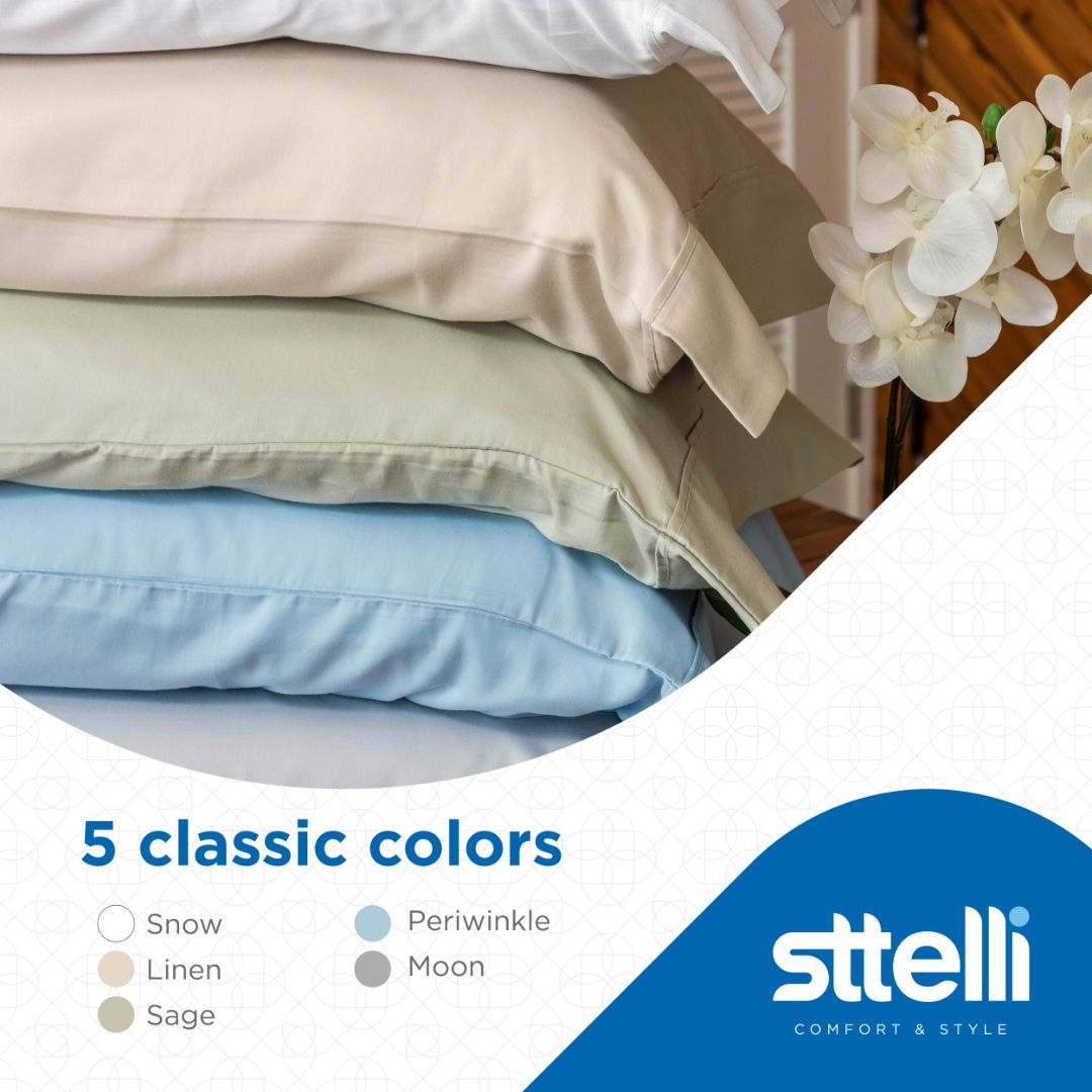 Sttelli Siesta Bed Sheet Set, 100% Cotton with a Sateen Weave, 300 Thread Count, Includes 1 Fitted Sheet, 1 Flat Sheet, and 2 Pillowcases - Linen - Queen