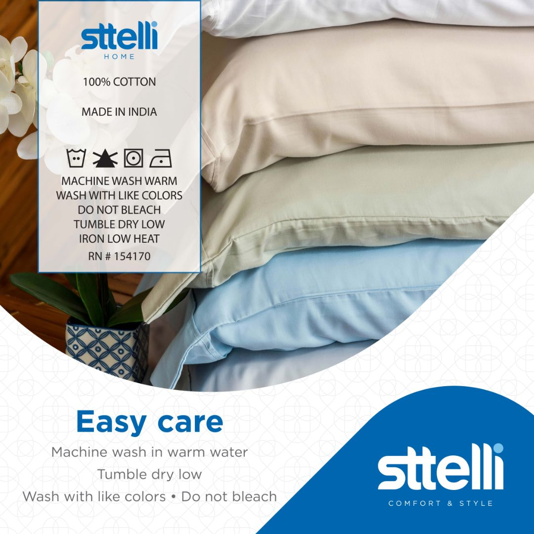 Sttelli Siesta Bed Sheet Set, 100% Cotton with a Sateen Weave, 300 Thread Count, Includes 1 Fitted Sheet, 1 Flat Sheet, and 2 Pillowcases - Snow - Queen