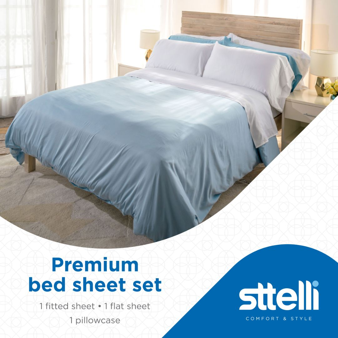 Sttelli Siesta Bed Sheet Set, 100% Cotton with a Sateen Weave, 300 Thread Count, Includes 1 Fitted Sheet, 1 Flat Sheet, and 2 Pillowcases - Snow - Twin