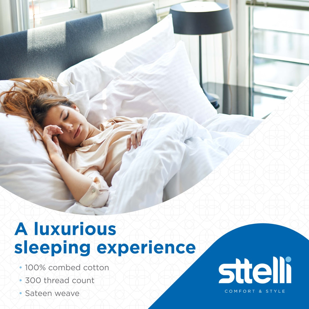 Sttelli Siesta Bed Sheet Set, 100% Cotton with a Sateen Weave, 300 Thread Count, Includes 1 Fitted Sheet, 1 Flat Sheet, and 2 Pillowcases - Linen - California King