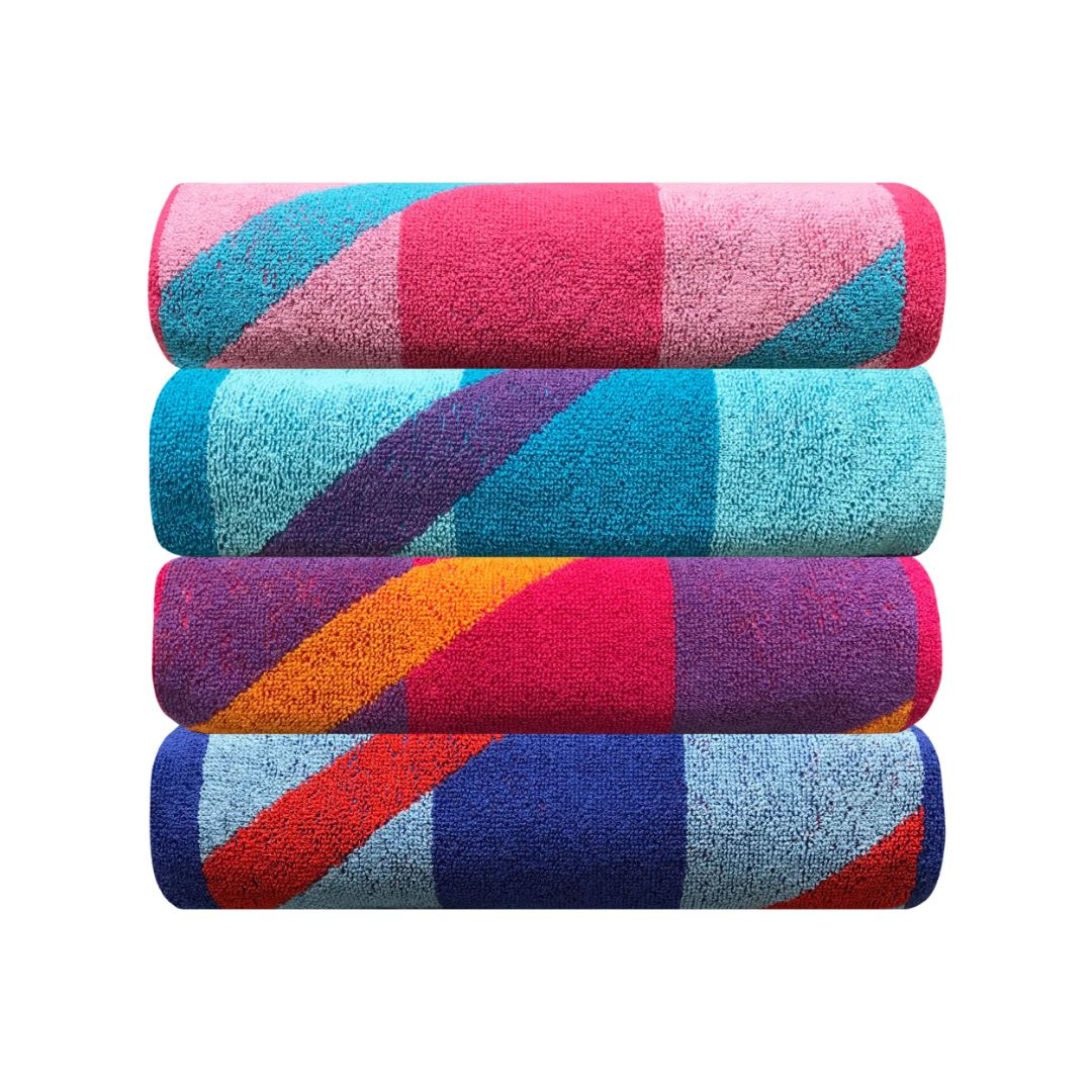 Sttelli Bayside 4-Piece Beach Towel - Durable, Soft and Absorbent - - Includes 4 Towels - Large Beach Towel: 32 x 64 Inches - Assorted Colors
