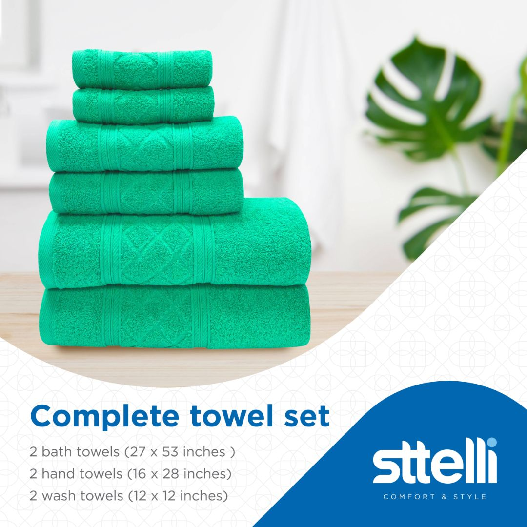 Sttelli Radiance 6-Piece Bath Towel Set - Durable, Soft and Absorbent, Includes 2 Bath Towels, 2 Hand Towels, and 2 Wash Towels - Bermuda