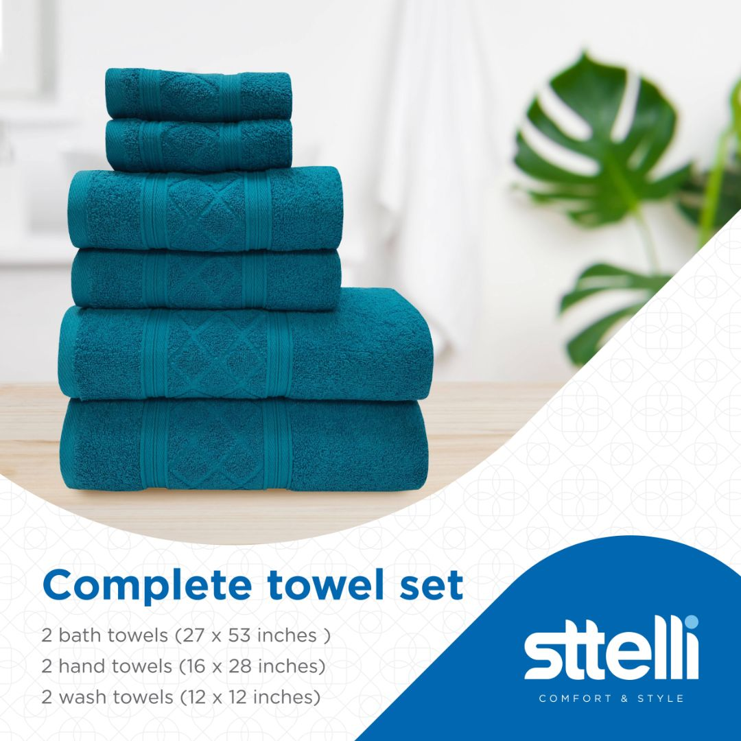 Sttelli Radiance 6-Piece Bath Towel Set - Durable, Soft and Absorbent, Includes 2 Bath Towels, 2 Hand Towels, and 2 Wash Towels - Jewel