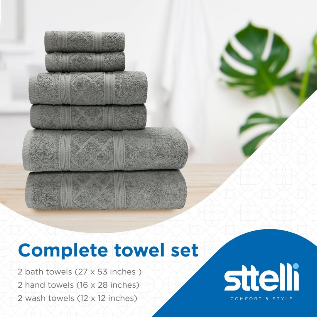 Sttelli Radiance 6-Piece Bath Towel Set - Durable, Soft and Absorbent, Includes 2 Bath Towels, 2 Hand Towels, and 2 Wash Towels - Limestone