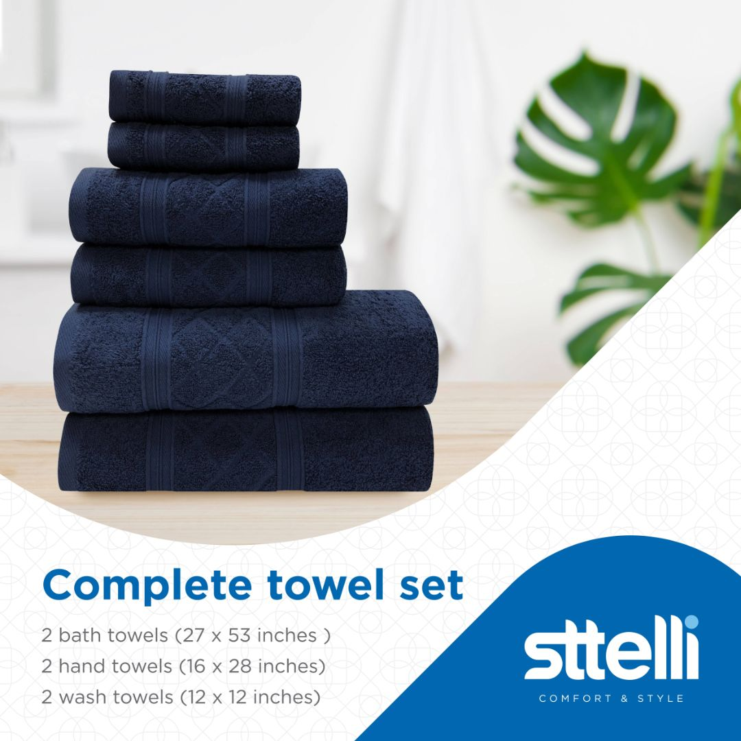 Sttelli Radiance 6-Piece Bath Towel Set - Durable, Soft and Absorbent, Includes 2 Bath Towels, 2 Hand Towels, and 2 Wash Towels - Navy