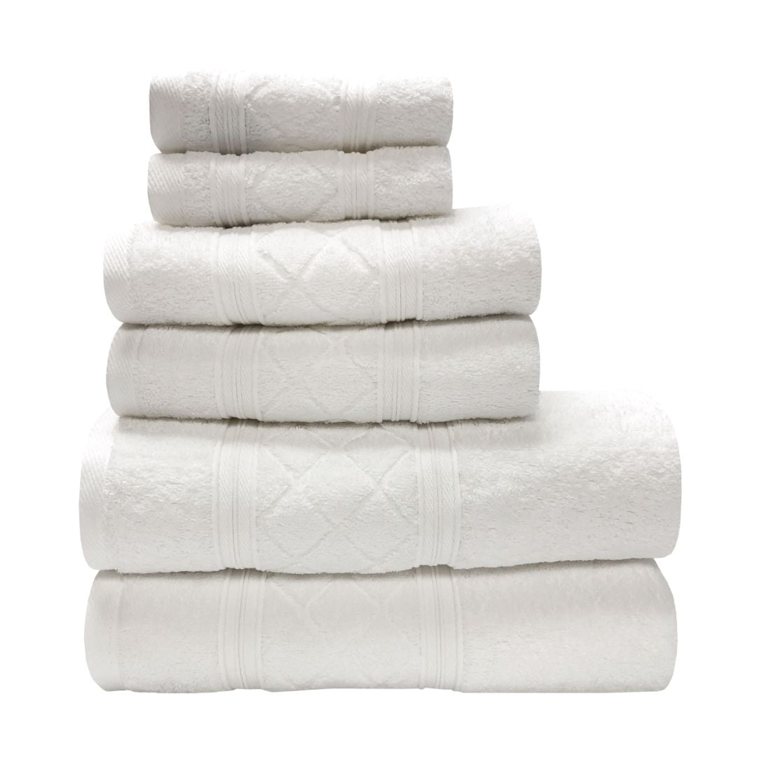 Sttelli Radiance 6-Piece Bath Towel Set - Durable, Soft and Absorbent, Includes 2 Bath Towels, 2 Hand Towels, and 2 Wash Towels - White