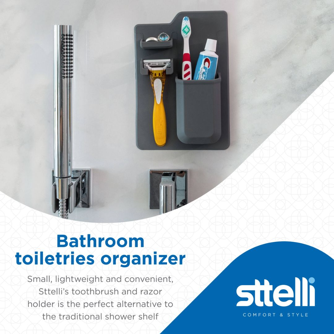 Sttelli Silicone Toothbrush and Razor Holder - Wall Mounted Toiletry Organizer - Waterproof - Easy to Clean - Gray