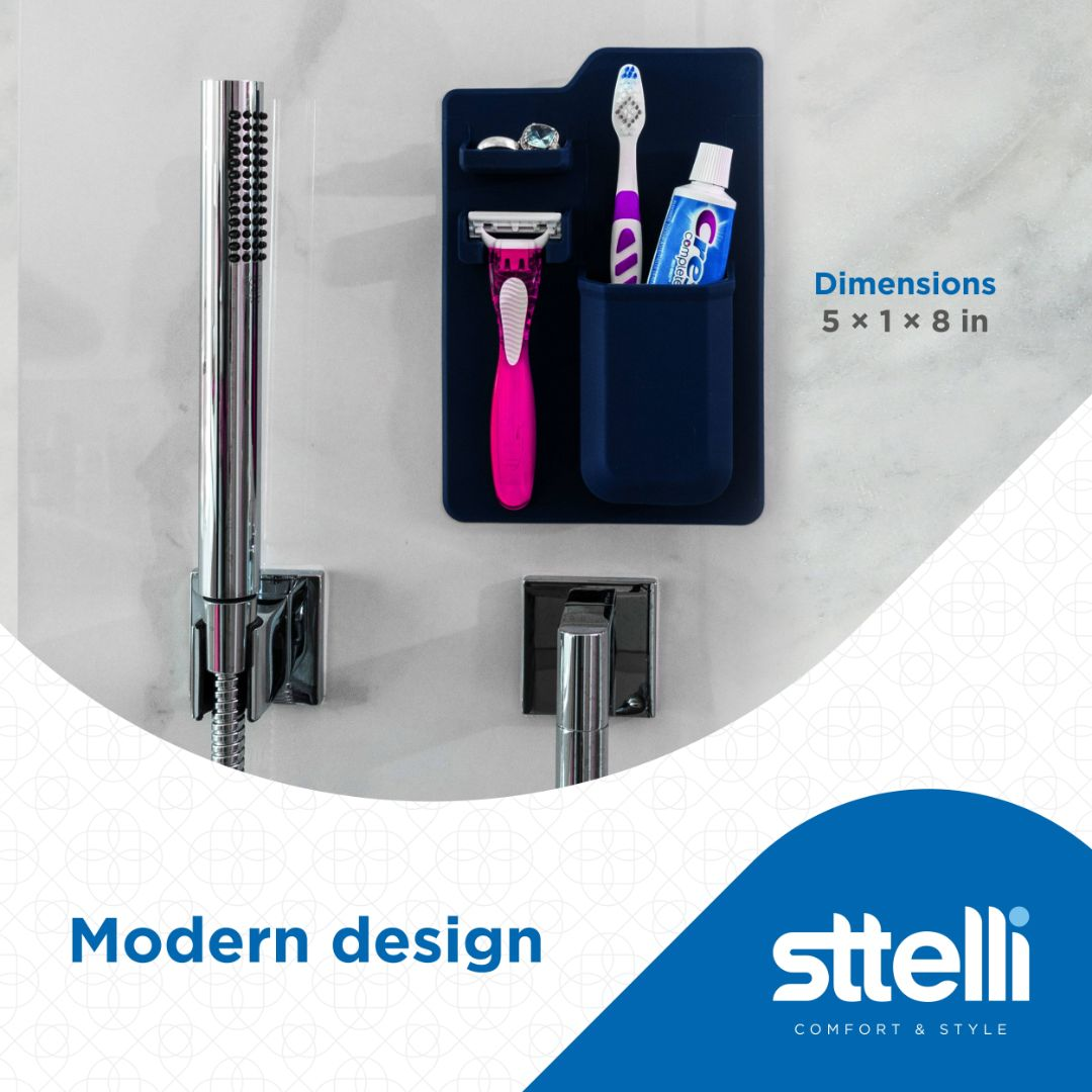 Sttelli Silicone Toothbrush and Razor Holder - Wall Mounted Toiletry Organizer - Waterproof - Easy to Clean - Navy