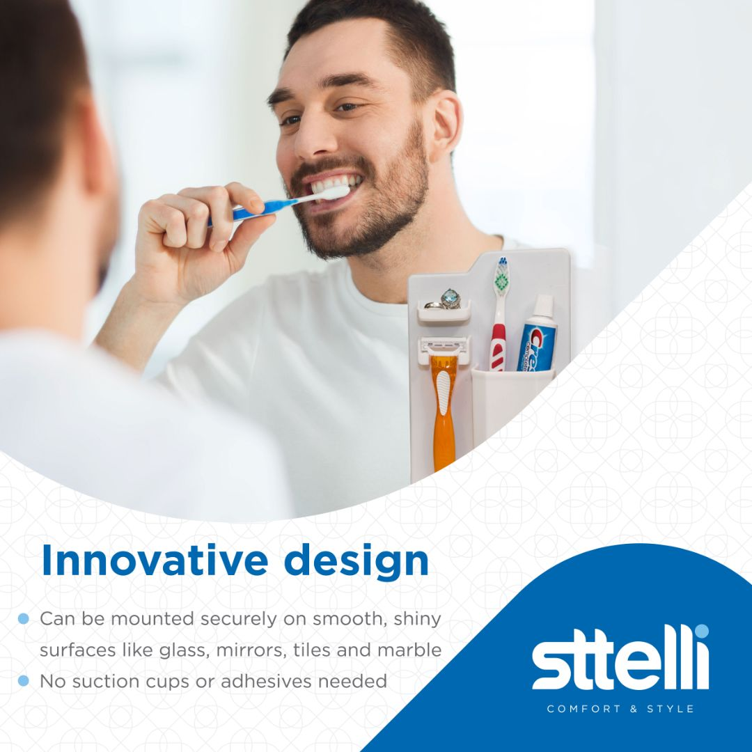 Sttelli Silicone Toothbrush and Razor Holder - Wall Mounted Toiletry Organizer - Waterproof - Easy to Clean - White