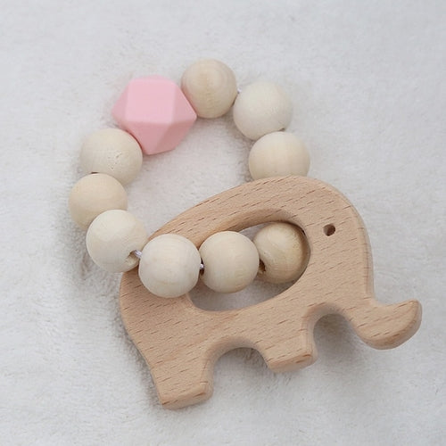 Wood and Silicone Bead Teething Toy
