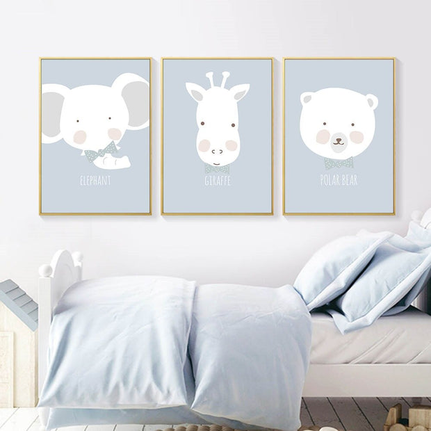 Cartoon Animal Head Grey Canvas