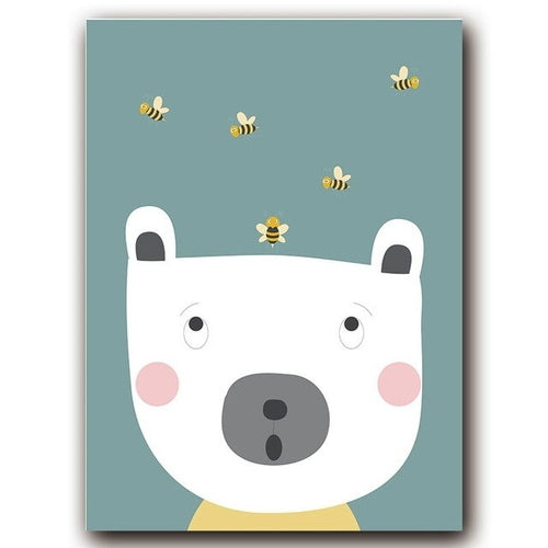 Cartoon Animal Bee Balloon Canvas