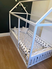 Montessori Floor House Bed With Rails