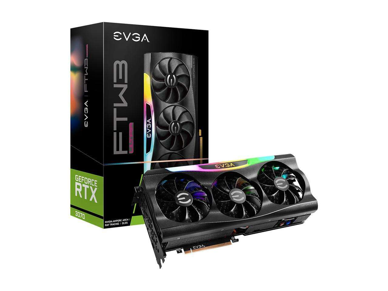 EVGA Video Card  GeForce RTX 3070 FTW3 ULTRA 8GB GDDR6 iCX3 Technology + 750W PSU Bundle