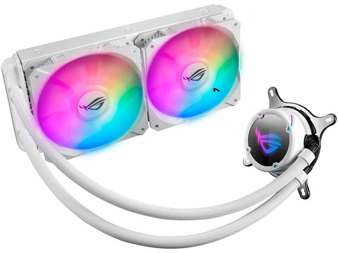ASUS ROG Strix LC 240 RGB White Edition All-in-one Liquid CPU Cooler with Aura Sync RGB, and Dual ROG 120mm Addressable RGB Radiator Fans