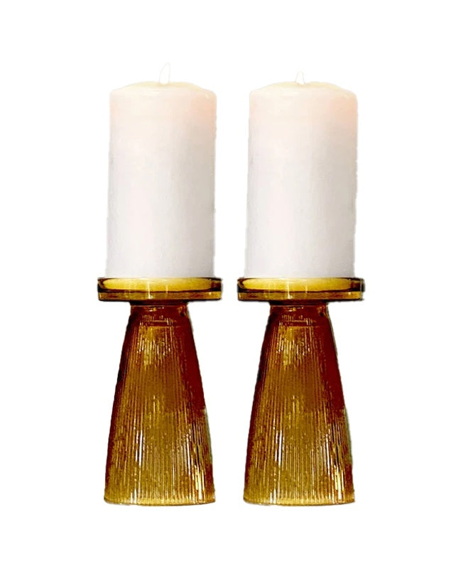Ripple Candle Holder Set of 2 Amber