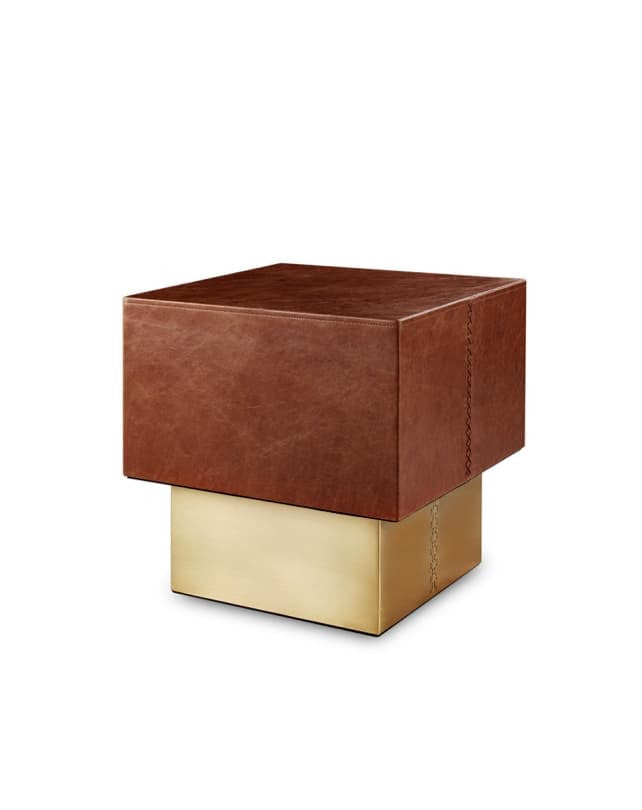 Leather Side Table Square