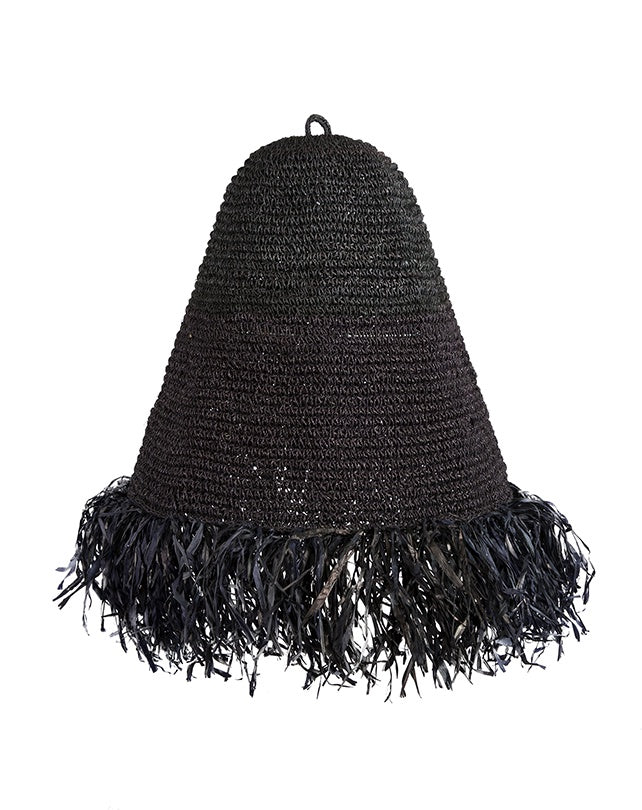 Raffia Fringed Pendant Black (Small)