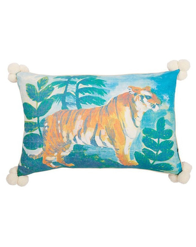 Tiger Multi Cushion with Pom Pom 60x40