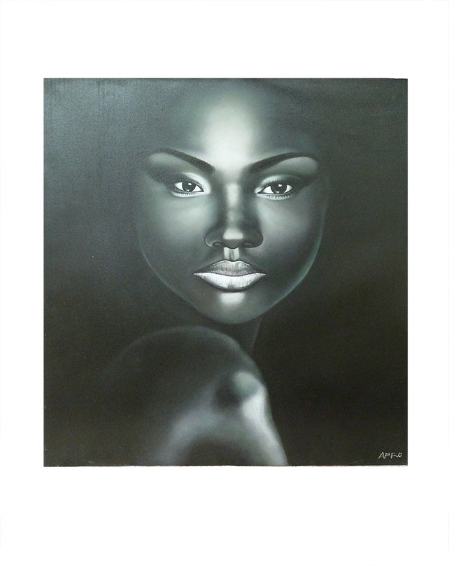 African Woman's Face Black & White