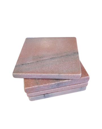 Pink Square Marble Coasters Set of 4