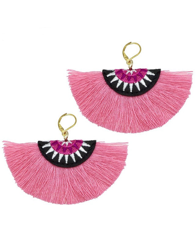Embroidery Fringe Cotton Tassel Earrings Pink
