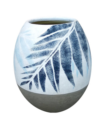 Blue Tropical Oval Vase