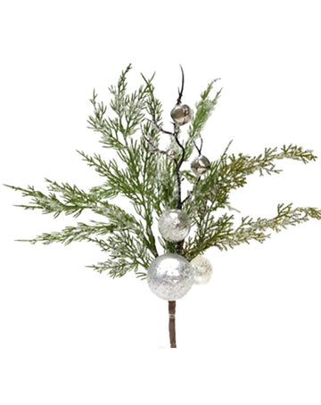 Pine Spray with Silver Bauble