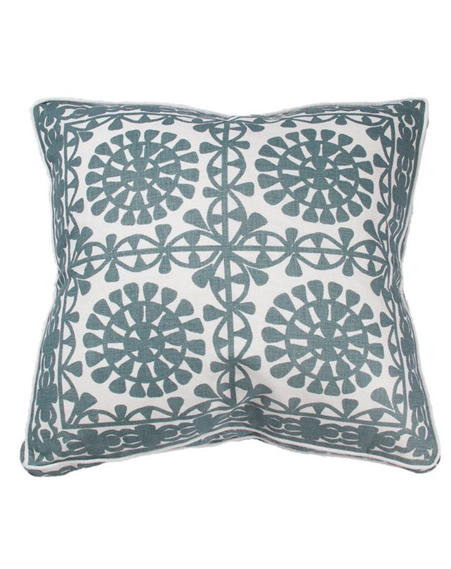 Linen Moroccan Tile Hamptons Cushion 55x55