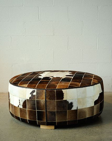 Patchwork Cowhide Ottoman