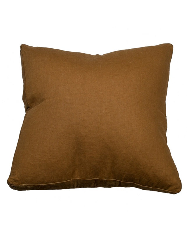 Essential Cuban Tan Linen Velvet Gusset Cushion 60x60
