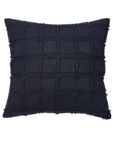 Bedu Linen Fringed Cushion Black 60x60