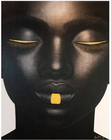 African Face Front Profile - Gold Lip & Eyeliner  110x140