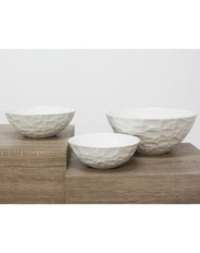 Chiseled Bowl Matt White - 27cmd Large