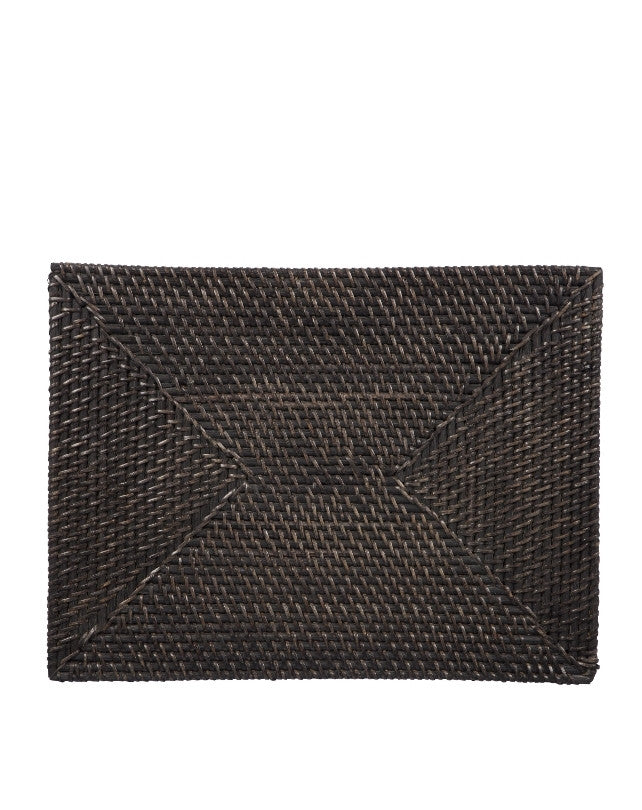 Black Rattan Placemat - Rectangle