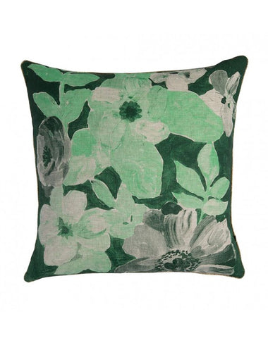 Painted Floral Green Cushion 50x50