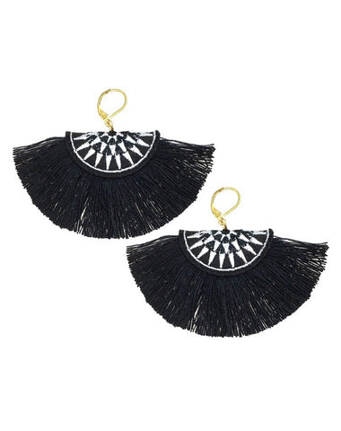 Embroidery Fringe Cotton Tassel Earrings Black