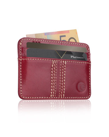 Compact Card Holder 'The Slip' (Cherry)