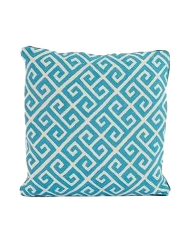 Greek Key Turquoise Cushion