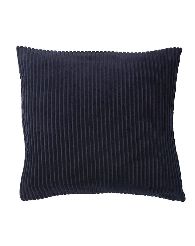 Geant Ribbed Velvet Cushion Navy 50x50