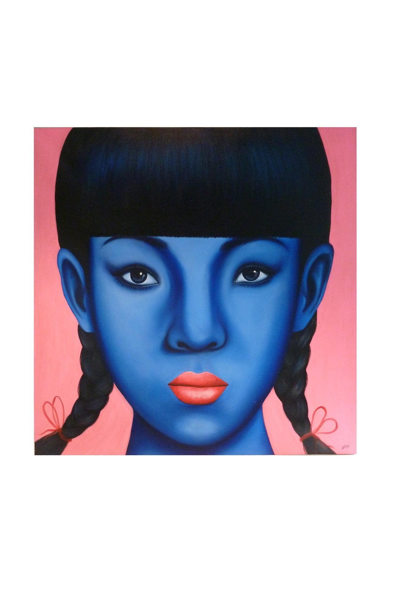 Oriental Girl with Blue Face & Plaits, Pink Lips