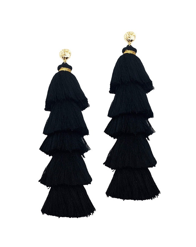 Black Cotton Triple Tassel Earrings
